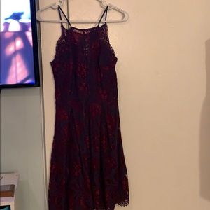 Francesca's burgundy and navy lace dress